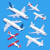 Isometric Airplanes. Passenger Jet Airplane, Private Aircraft And Airline Plane. Aviation Planes 3d  poster