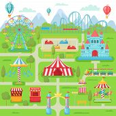 Amusement Park Map. Family Entertainment Festival Attractions Carousel, Roller Coaster And Ferris Wh poster