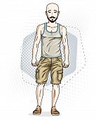 Confident Athletic Handsome Hairless Young Man Standing, Hipster. Vector Illustration Of Male With B poster