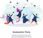 Graduation Party. Group Of Happy Graduated Students. poster
