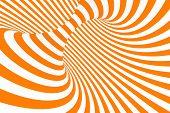 Torus 3d Optical Illusion Raster Illustration. Hypnotic White And Orange Tube Image. Contrast Twisti poster