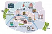 Picturesque Paris map, with famous landmarks, museums, markets, flea markets and parks