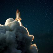 Spacecraft Flies Up Into The Starry Sky. Rocket With Smoke Flies Into Space. Space Shuttle poster