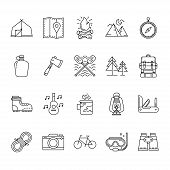 Set Of Hiking And Camping Icons, Camping Equipment Vector Collection, Outdoor Activities And Sports  poster