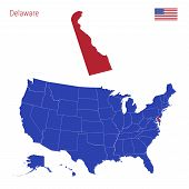 The State Of Delaware Is Highlighted In Red. Blue Vector Map Of The United States Divided Into Separ poster