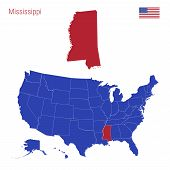 The State Of Mississippi Is Highlighted In Red. Blue Vector Map Of The United States Divided Into Se poster