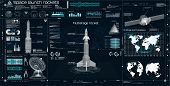 Space Set In Hud Ui Style. Head Up Display. Space Launch Rockets. Technology Elements ( Dashboard, S poster