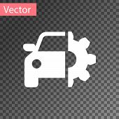 White Car Service Icon Isolated On Transparent Background. Auto Mechanic Service. Mechanic Service.  poster
