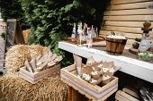 Wedding Banquet Decorations. Wood Rustic Style Decor. Festive Table With Desserts, Snacks, Cakes, Bl poster