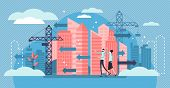 Urban Sprawl Vector Illustration. Flat Tiny Building Construction Persons Concept. Unrestricted Urba poster