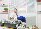Illegal Money Profit Concept. Businessman Discuss Successful Deal. Fraudster Speak Mobile Phone. Fin poster