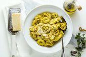Plate Of Italian Ravioli Withplate Of Italian Ravioli With Parmesan Cheese On The Plate Of Italian C poster