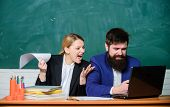 Businessman And Angry Secretary. Teacher And Student On Exam. Back To School. Informal Education. Pa poster