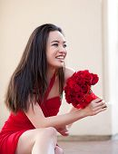 stock photo of matron  - Beautiful Sexy Asian Woman in red dress for Valentines Day or Bridal Party Maid of Honor and Brides Maid - JPG