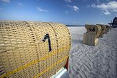 image of labo  - Hooded beach chairs near Baltic Sea in Germany - JPG