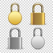Vector 3d Realistic Closed Metal Golden And Silver Padlock Icon Set Closeup Isolated On Transparent  poster