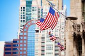 American Flag, Chicago Downtown Buildings On Back poster
