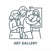 Art Gallery, Painter, Artists Line Icon, Vector. Art Gallery, Painter, Artists Outline Sign, Concept poster