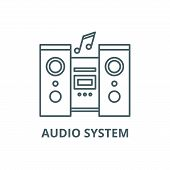 Audio System Line Icon, Vector. Audio System Outline Sign, Concept Symbol, Flat Illustration poster
