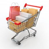 stock photo of cart  - Gift buying - JPG