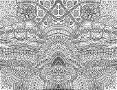 Psychedelic Tribal Outline Symmetrical Background. Fantastic Cartoon Doodle Ornament. Coloring Page  poster