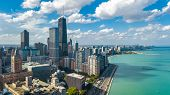 Chicago Skyline Aerial Drone View From Above, City Of Chicago Downtown Skyscrapers And Lake Michigan poster