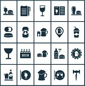 Beverages Icons Set With Beer With Cigarettes, Can Of Beer, Beverage And Other Cocktail Sign Element poster