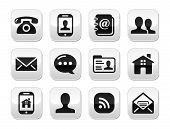 picture of faq  - Glossy clean icons for Contact Us page on glossy grey buttons - JPG