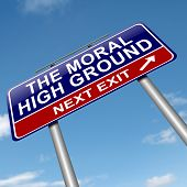 image of snob  - Illustration depicting a roadsign with a moral high ground concept - JPG