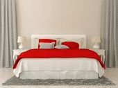 picture of curtain  - Bedroom decorated in red and grey bedspread and curtains in Christmas style - JPG