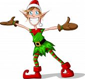 pic of tooth-fairy  - A vector illustration of a Christmas elf spreading his arms and smiling - JPG