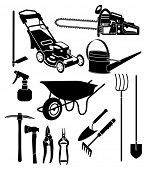 pic of hoe  - black and white silhouettes of a garden equipment - JPG