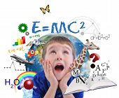 foto of math  - A young boy is looking up at different science math and physics icons around him on a white background - JPG