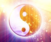 image of ying-yang  - yin yang sign with some glitters and sparkles - JPG