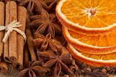 christmas spices, anise, cinnamon, orange slice