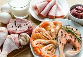 pic of crustaceans  - close up of various Ingredients For Protein Diet - JPG