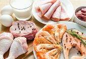 stock photo of veal meat  - Ingredients For Protein Diet on the table - JPG