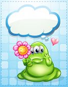 stock photo of broken heart flower  - Illustration of a fat green monster holding a flower with an empty callout - JPG