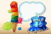 Illustration of a giant icecream beside the two blue monsters