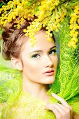 pic of mimosa  - Portrait of a beautiful girl with mimosa flowers - JPG