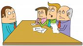picture of dangerous situation  - Illustration of a man in Interview situation - JPG