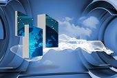 stock photo of earth structure  - Earth on abstract screen against white cloud design on a futuristic structure - JPG