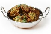 stock photo of kadai  - A kadai indian bowl with a pile of homemade onion bhajis - JPG
