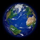 foto of northern hemisphere  - Northern hemisphere on blue planet Earth isolated on black background - JPG