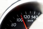 stock photo of dangerous situation  - Car speedometer with a scale and a red arrow - JPG