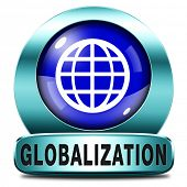 globalisation blue icon global open market international worldwide trade and economy