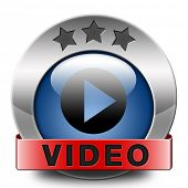 Play video clip now or watch movie online or in live stream, multimedia button banner or icon