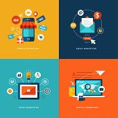 Set of flat design concept icons for web and mobile phone services and apps. Icons for mobile market poster