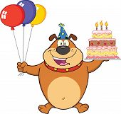 stock photo of ear candle  - Birthday Brown Bulldog Cartoon Mascot Character Holding Up A Birthday Cake With Candles - JPG