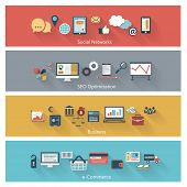 image of strategy  - Set of modern concepts in flat design with long shadows and trendy colors for web - JPG